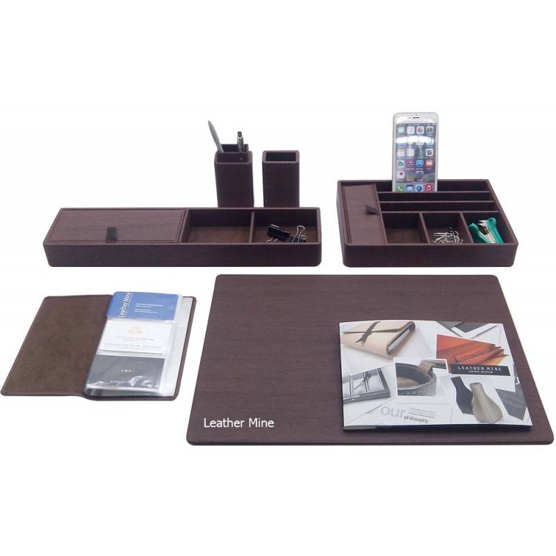 Desk set brown wood